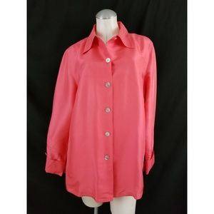 Bloomingdale's Size 14 Coral Silk Blouse Silk